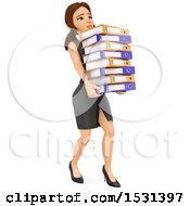 Clipart Of A 3d White Business Woman Carrying A Stack Of Binders On A White Background Royalty Free Illustration