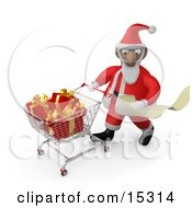 Santa Claus Reading A Very Long List And Purchasing Christmas Presents While Pushing A Shopping Cart In A Store