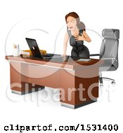 Clipart Of A 3d White Business Woman Having A Heart Attack In Her Office On A White Background Royalty Free Illustration