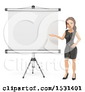 3d White Business Woman Presenting A Blank Projector Screen On A White Background