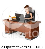 3d White Business Woman Working At Her Desk On A White Background