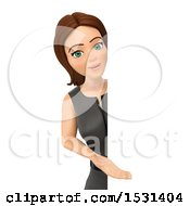 3d White Business Woman Presenting Around A Sign On A White Background