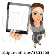 Poster, Art Print Of 3d White Business Woman Holding Up A Tablet Screen On A White Background