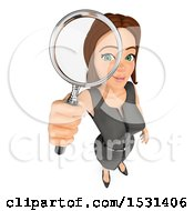 Poster, Art Print Of 3d White Business Woman Looking Through A Magnifying Glass On A White Background