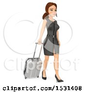 Clipart Of A 3d Traveling White Business Woman On A White Background Royalty Free Illustration