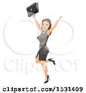 Poster, Art Print Of 3d White Business Woman Cheering On A White Background