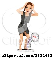 Poster, Art Print Of 3d White Business Woman Stepping On And Breaking A Scale On A White Background