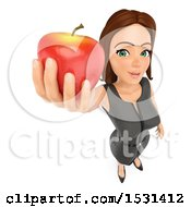 Clipart Of A 3d White Business Woman Holding Up An Apple On A White Background Royalty Free Illustration