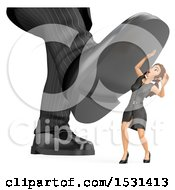 Poster, Art Print Of 3d White Business Woman Under A Giant Foot On A White Background
