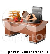Clipart Of A 3d White Business Woman Sleeping On The Job On A White Background Royalty Free Illustration