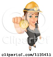 Poster, Art Print Of 3d White Business Woman Holding Up A Bitcoin On A White Background