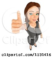 3d White Business Woman Holding Up A Thumb On A White Background