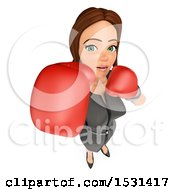 Clipart Of A 3d White Business Woman Wearing Boxing Gloves On A White Background Royalty Free Illustration