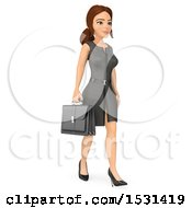 3d White Business Woman Walking On A White Background