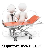Clipart Of A 3d White Man Doctor Using A Stethoscope On A Patient On A White Background Royalty Free Illustration