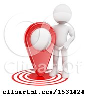 Clipart Of A 3d White Man With A Point Of Interest On A White Background Royalty Free Illustration