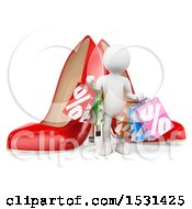 Clipart Of A 3d White Person With Sales Shopping Bags And Shoes On A White Background Royalty Free Illustration