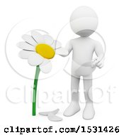 Poster, Art Print Of 3d White Man Picking Petals Off Of A Daisy On A White Background