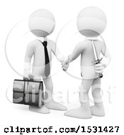 Clipart Of A 3d White Business Man Holding A Knife Behind His Back While Shaking Hands On A White Background Royalty Free Illustration
