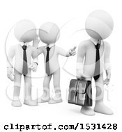 Clipart Of A 3d White Business Man Being Gossiped About On A White Background Royalty Free Illustration