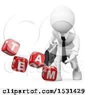 Clipart Of A 3d White Business Man Tossing Team Dice On A White Background Royalty Free Illustration