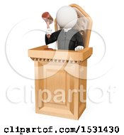 Clipart Of A 3d White Man Judge Sentencing In Court On A White Background Royalty Free Illustration