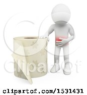 Clipart Of A 3d White Man Sick With A Stomach Ache Leaning On Toilet Paper On A White Background Royalty Free Illustration