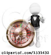 Clipart Of A 3d White Man Croupier With A Casino Roulette On A White Background Royalty Free Illustration