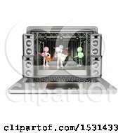 3d White Man Band Performing On Stage In A Laptop Screen On A White Background