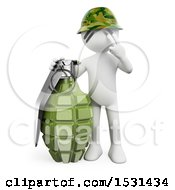 Clipart Of A 3d White Man Soldier With A Grenade On A White Background Royalty Free Illustration
