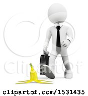 Poster, Art Print Of 3d White Business Man Approaching A Banana Peel On A White Background