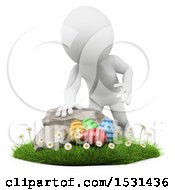 Poster, Art Print Of 3d White Man Hunting Easter Eggs On A White Background