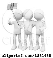 3d White Man And Friends Taking A Selfie On A White Background