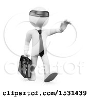 3d Blindfolded White Business Man Walking On A White Background