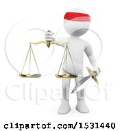 3d White Man Holding A Scales Of Justice And Sword On A White Background