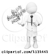 3d White Man Music Teacher Holding A Baton And Music Notes On A White Background
