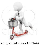 3d White Business Man Riding A Scooter On A White Background