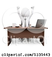 Clipart Of A 3d White Business Man Cheering Behind His Desk On A White Background Royalty Free Illustration