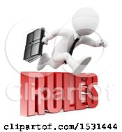 Clipart Of A 3d White Business Man Leaping Over Rules Text On A White Background Royalty Free Illustration