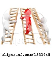 3d Men Climbing Ladders On A White Background