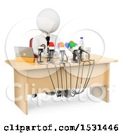 Clipart Of A 3d White Man Speaking At A Press Conference On A White Background Royalty Free Illustration