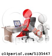 Clipart Of A 3d White Business Man Leaving A Bomb Behind His Boss On A White Background Royalty Free Illustration