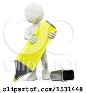 3d White Man Using A Highlighter On A White Background