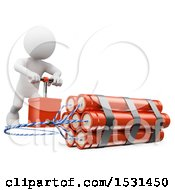 Poster, Art Print Of 3d White Man Pushing The Detonator On A Bomb On A White Background