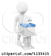 3d White Man Inserting A Ballot In A Box On A White Background
