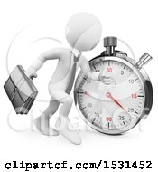 3d White Business Man Running By A Stopwatch On A White Background