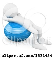 3d White Man Using An Exercise Ball On A White Background