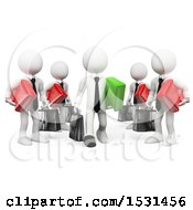 3d White Business Man Leaving A Business Team To Become An Entrepeneur On A White Background