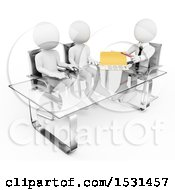 3d White Business Man Giving A Contract To A Couple On A White Background