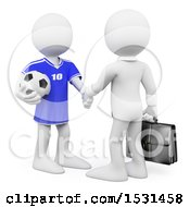 Poster, Art Print Of 3d White Business Man Manager Shaking Hands With A Soccer Player On A White Background